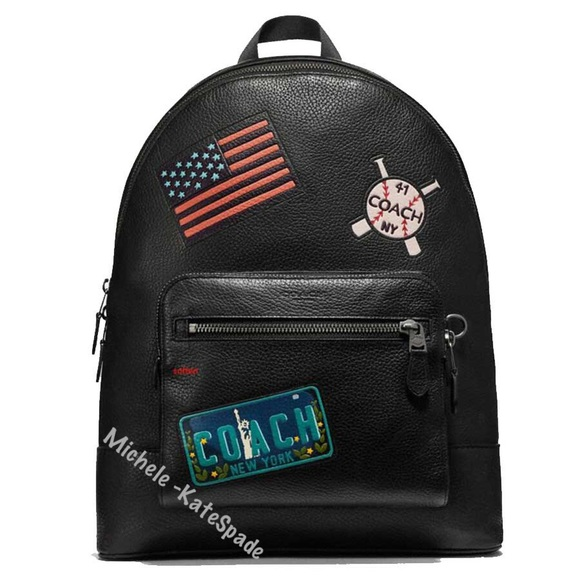 650 NWT Coach West Men s Backpack with Patches 769da44cad083